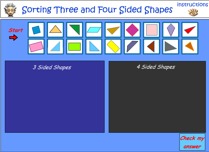 Sorting 2D shapes by the number of sides