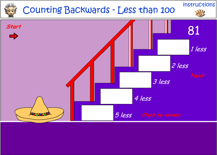 Continuing a pattern - counting backwards