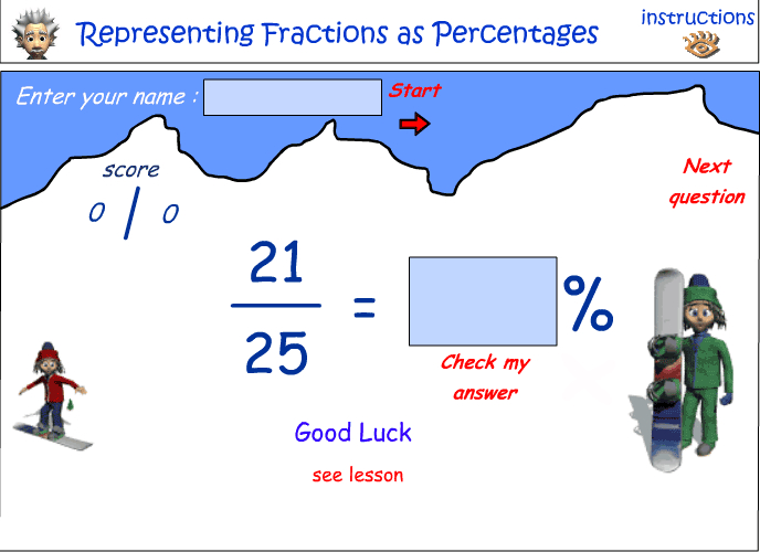 Representing fractions a percentages