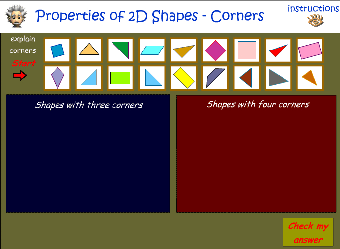 Sort 2D shapes - number of corners