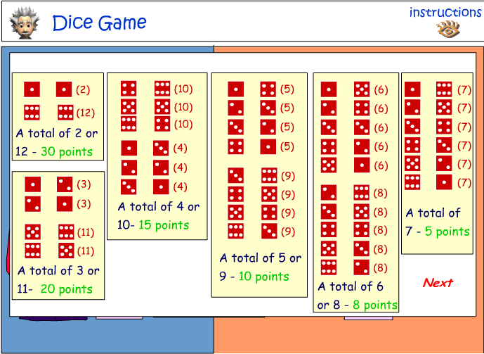 Combinations using dice