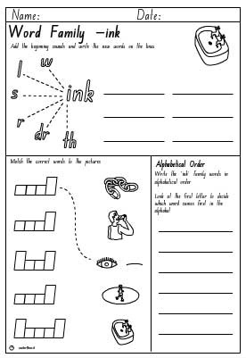 Word Family 'ink' Activity Sheet
