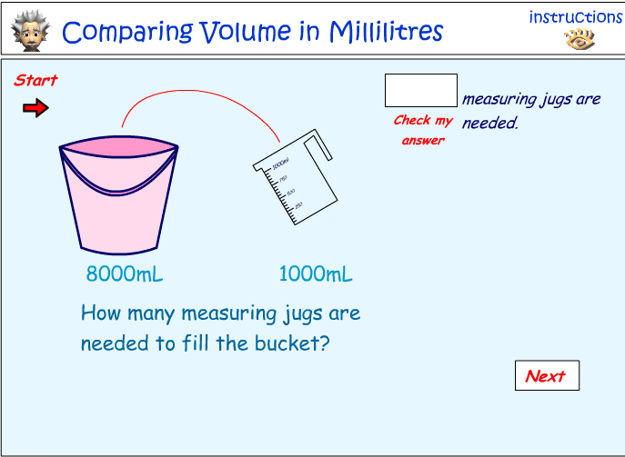 Comparing the volume of liquids