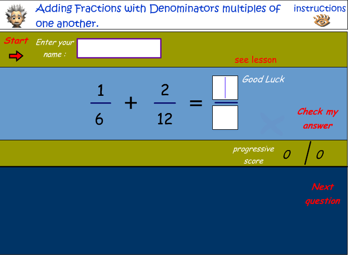 Adding fractions that have denominators that are common multiples