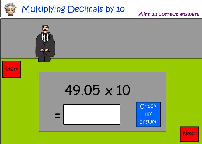 Multiplying decimals by 10