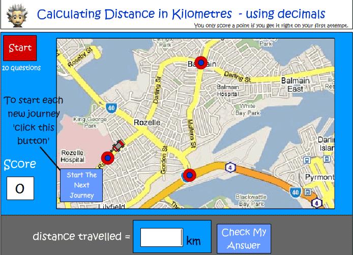 Calculating distance in kilometres involving decimals