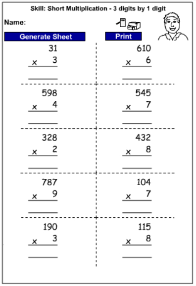 drill multiply 3 digits by 1 digit written strategies mathematics skills online