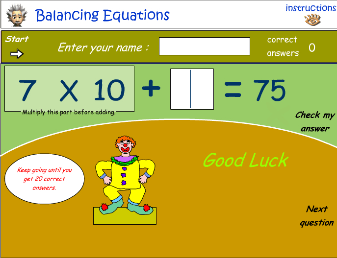 Balancing equations - calculating the missing number