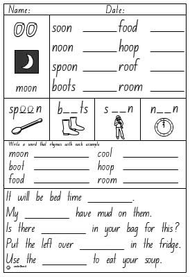 Vowel Digraphs 'oo' as in moon Activity Sheet