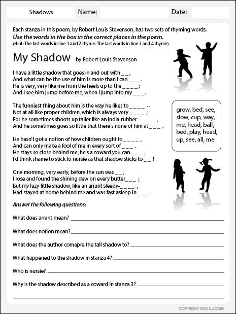 my shadow worksheet studyladder interactive learning games. Black Bedroom Furniture Sets. Home Design Ideas