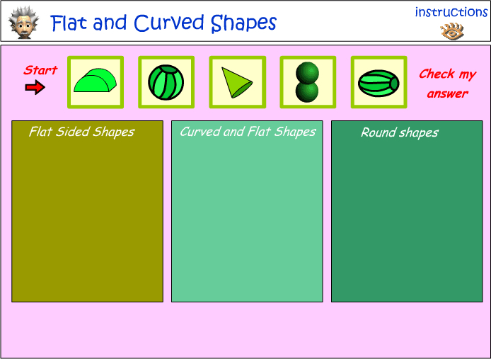 Sort 3D Objects - curved, flat or round