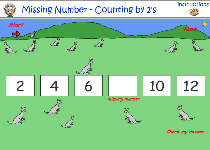 Number patterns - identify the missing number