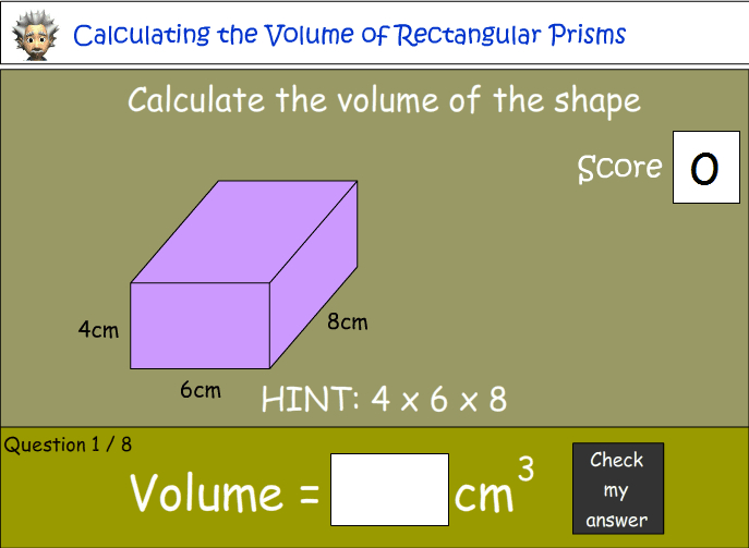 Calculating the volume of rectangular prisms