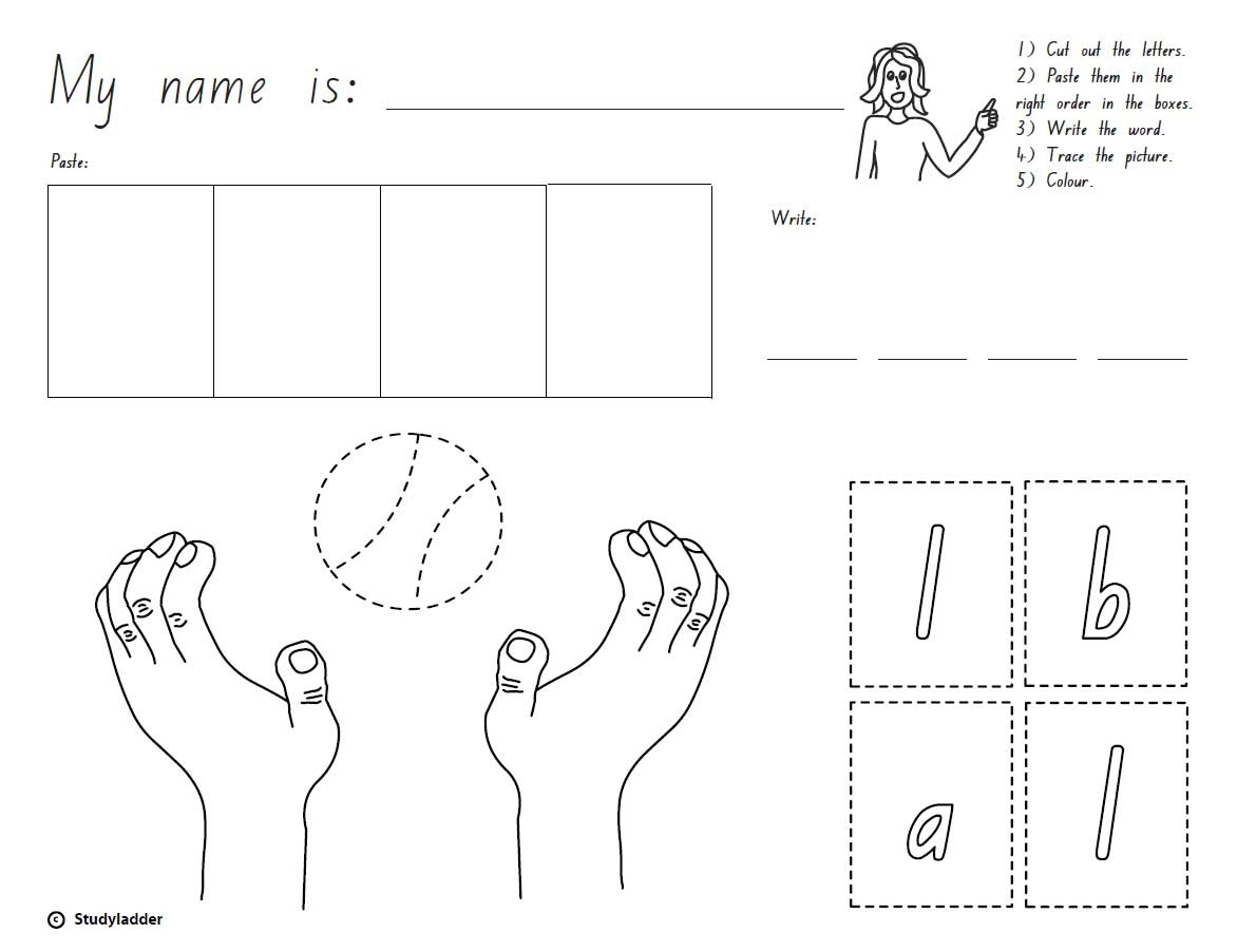 Cut, Paste And Write: The Word 'ball'