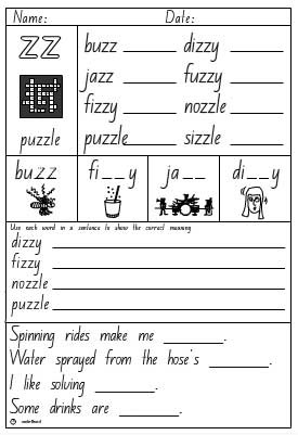 Double Consonant 'zz' Activity Sheet