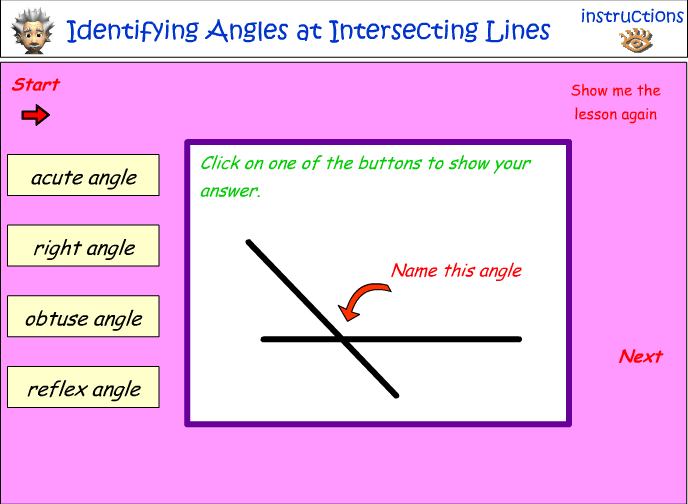 Identifying angles at intersecting lines