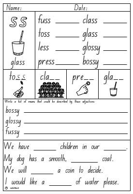 Double Consonant 'ss' Activity Sheet