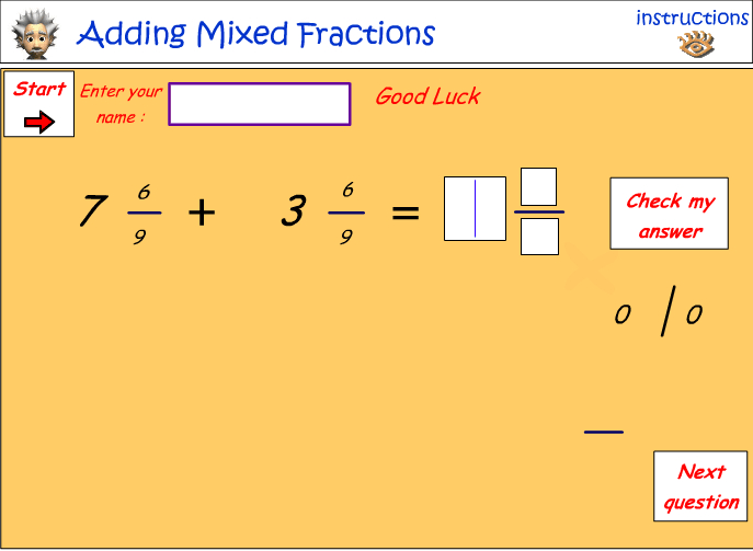 Adding fractions with the same denominators