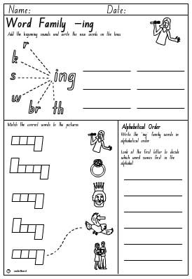 Word Family 'ing' Activity Sheet