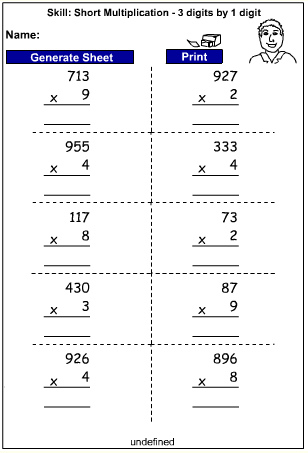 Drill - Multiply 3 digits by 1 digit - written strategies (Auto-Generated)