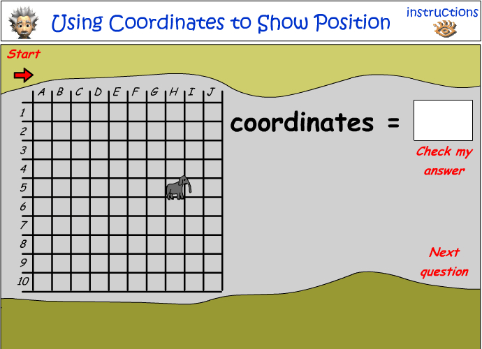 Using coordinates to show position